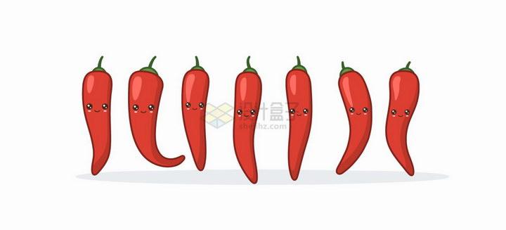 卡通可爱的红辣椒蔬菜表情包png图片免抠矢量素材 生活素材-第1张