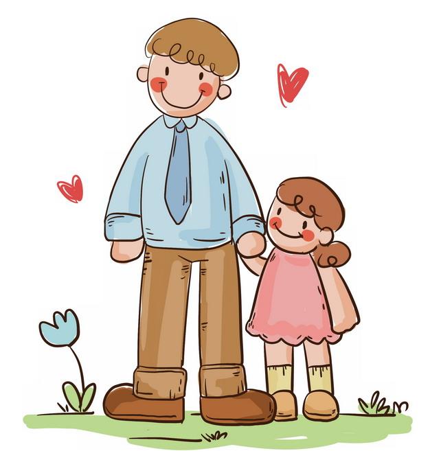 手绘牵着女儿手的爸爸父亲节儿童插画691659png图片素材