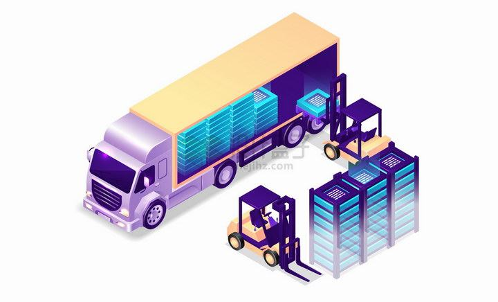 3D大货车正在卸货物流货运公司png图片免抠eps矢量素材