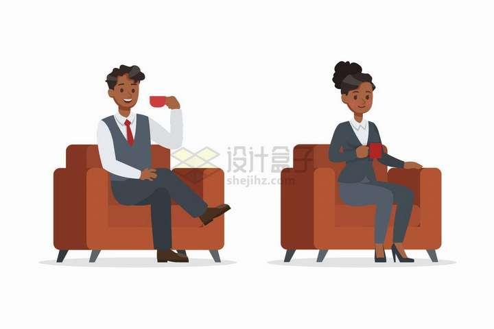 坐在单人沙发上喝咖啡的商务人士png图片免抠矢量素材