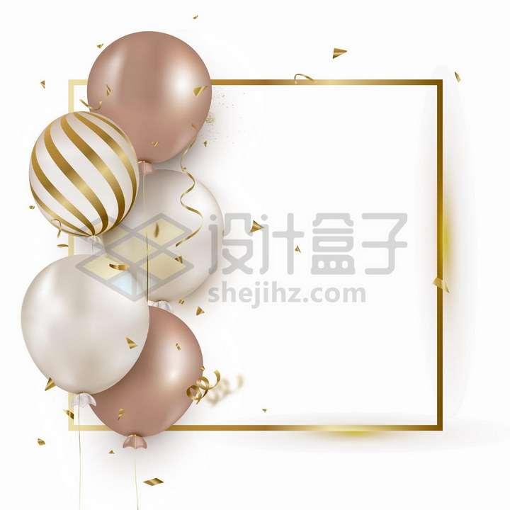 发光的金色方框文本框和彩色气球装饰png图片免抠矢量素材