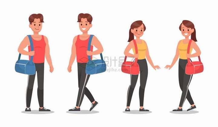 挎包单肩包的健身男人和女人png图片免抠矢量素材