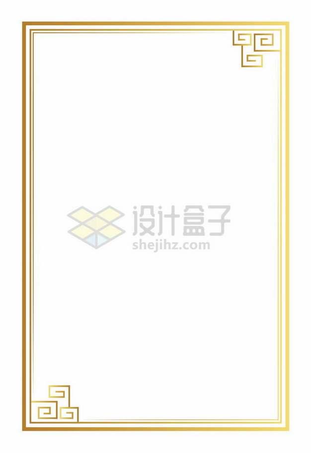 中国传统风格的金属色边框方框5737901png免抠图片素材