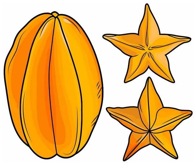 彩绘风格切开的橙色杨桃横切面五角星8981488png图片素材