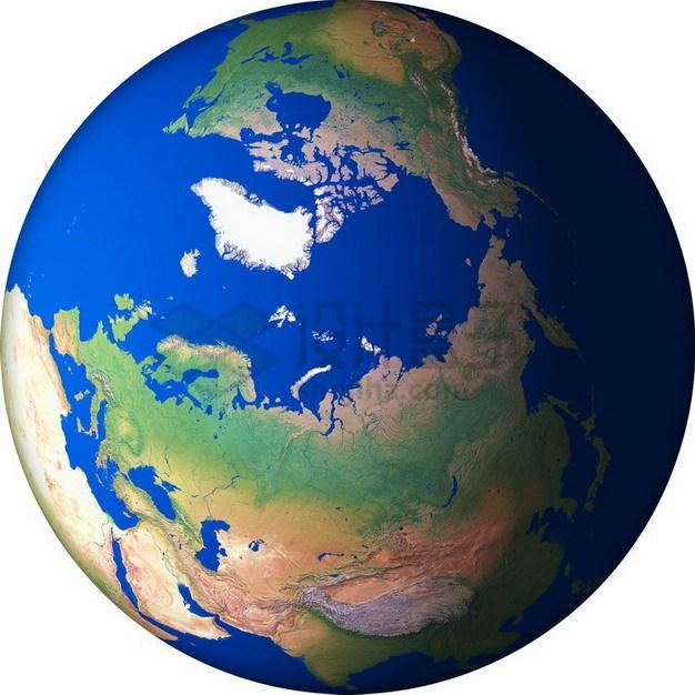 高清地球定位在北冰洋北极png免抠图片素材 科学地理-第1张
