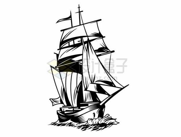 黑白画风格海面上的复古帆船913603png图片素材