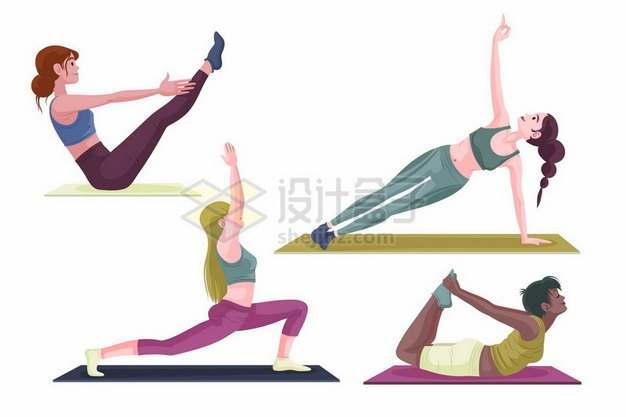 4款在瑜伽垫上练瑜伽动作的女孩979320png图片素材