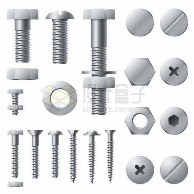 各种金属色螺丝钉螺母螺栓结构png图片免抠矢量素材