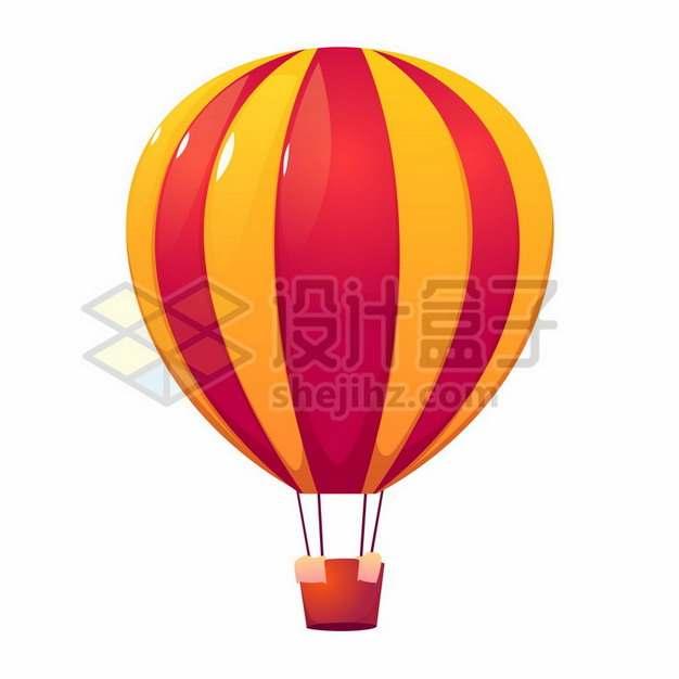 红色黄色条纹热气球png图片素材264289