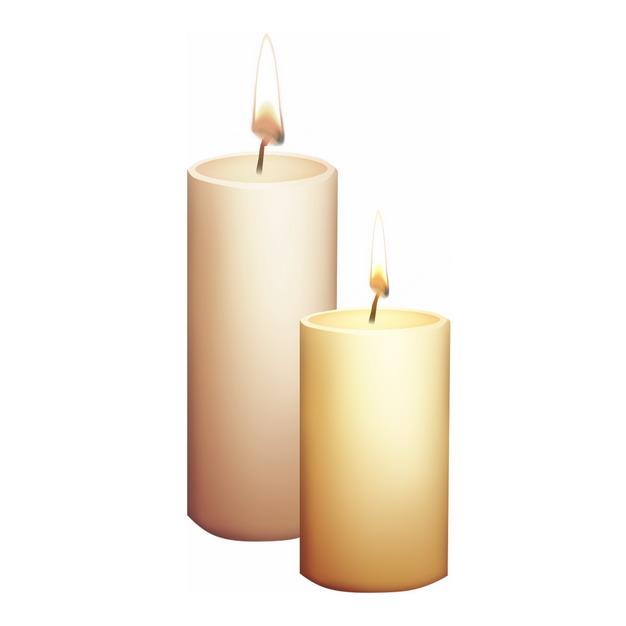 两根燃烧的浅黄色蜡烛8255657png图片素材 生活素材-第1张
