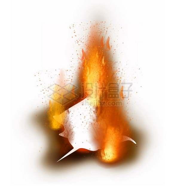 燃烧着火焰的纸张特效果1435478png图片素材