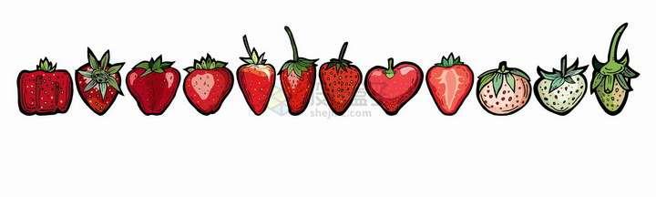 不同形状和颜色的草莓插图png图片免抠矢量素材
