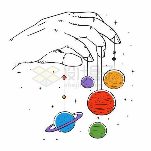 手绘手指操控的星球png图片免抠矢量素材