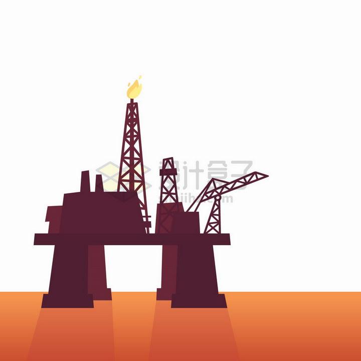 海上石油钻井平台剪影png图片免抠矢量素材