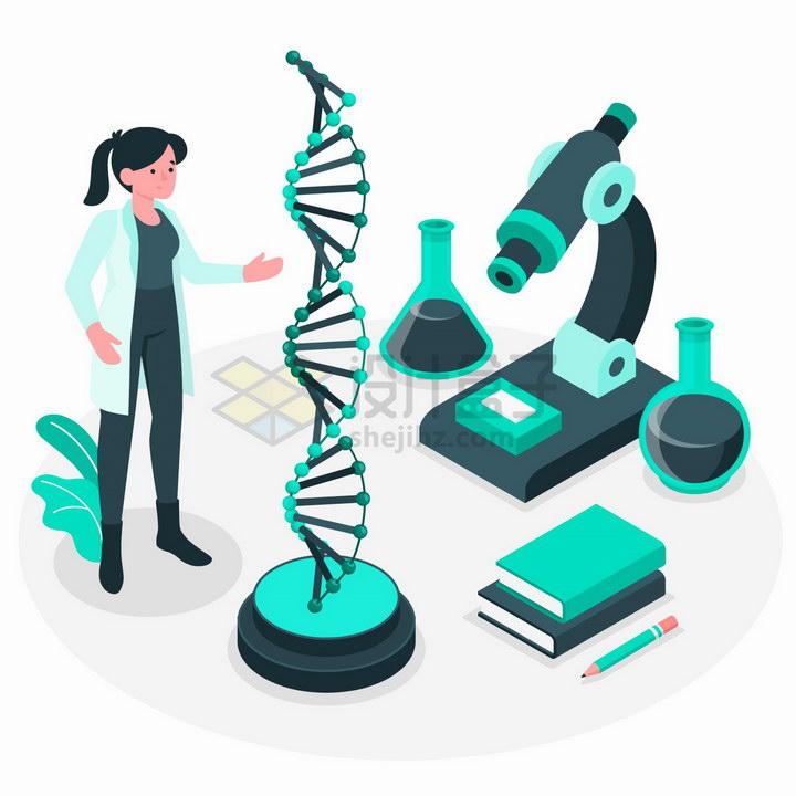 2.5D风格正在研究DNA的生命科学家png图片免抠矢量素材 科学地理-第1张