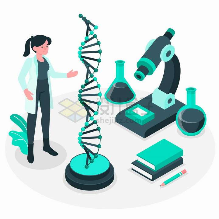 2.5D风格正在研究DNA的生命科学家png图片免抠矢量素材