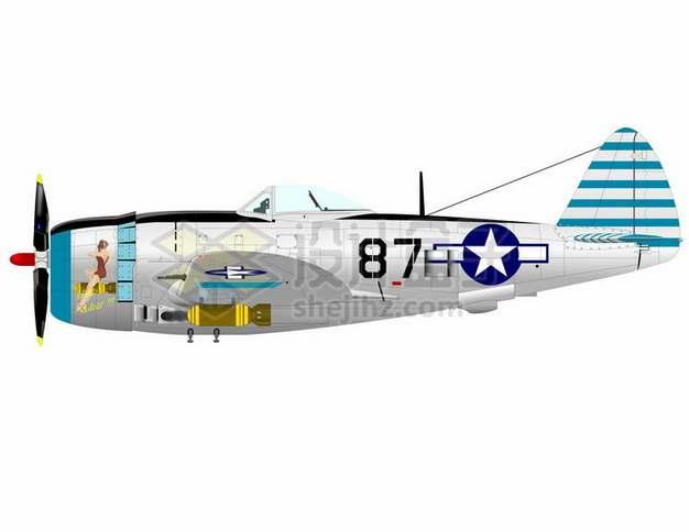 二战美国海军格鲁曼F6F地狱猫战斗机侧视图png免抠图片素材