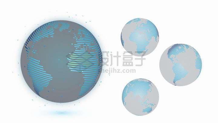 四款蓝色线条组成的地球模型png图片免抠矢量素材