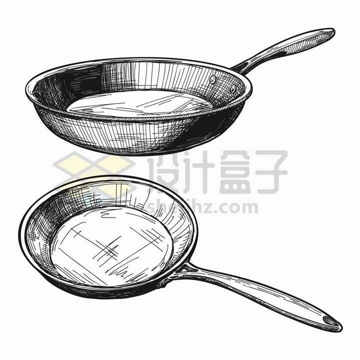 手绘素描风格两款平底锅厨房用具png图片免抠矢量素材