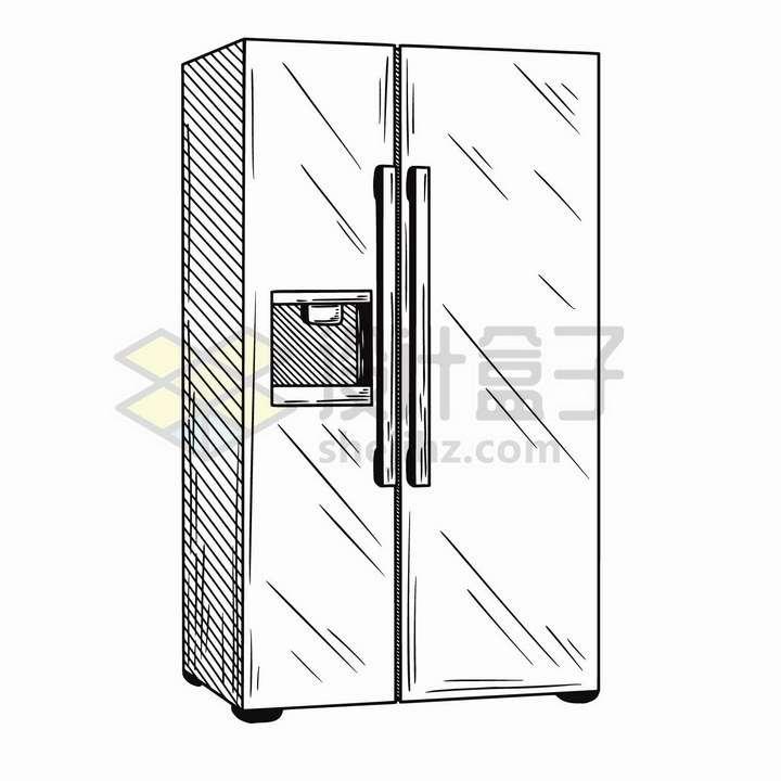 手绘素描风格双门对开电冰箱家用电器png图片免抠矢量素材
