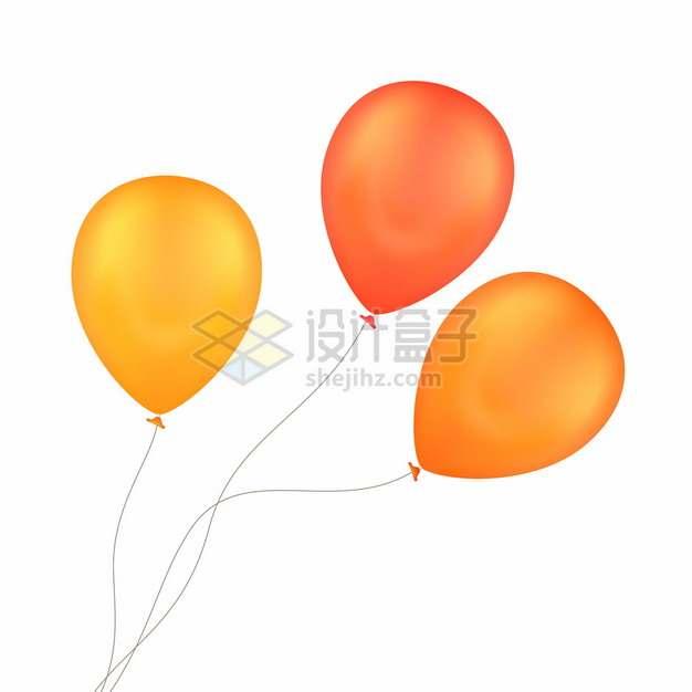 3个黄色橙色气球708067png图片素材