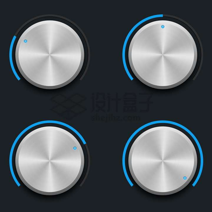 漂亮的金属旋钮音乐调节按钮png图片免抠矢量素材