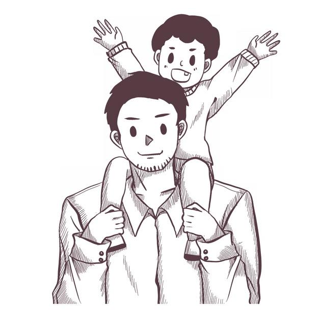 儿子骑脖子在爸爸身上父亲节素描插画557788png图片素材 人物素材-第1张