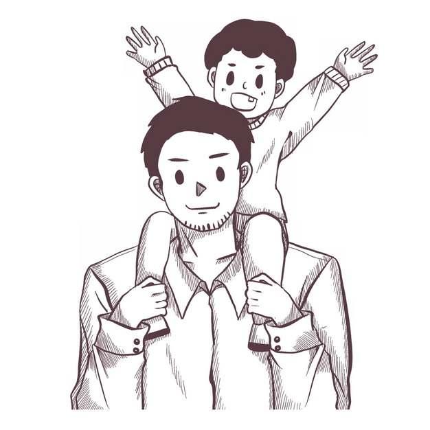 儿子骑脖子在爸爸身上父亲节素描插画557788png图片素材