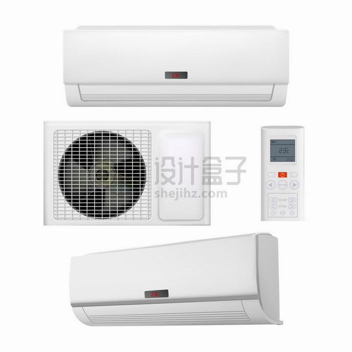 白色的空调外机室内机和遥控器png图片免抠矢量素材 生活素材-第1张