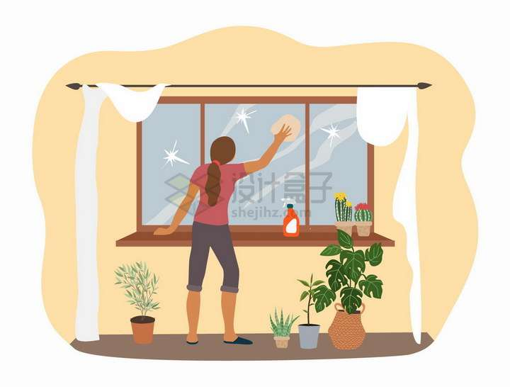 擦窗户的家庭主妇打扫卫生扁平插画png图片免抠矢量素材