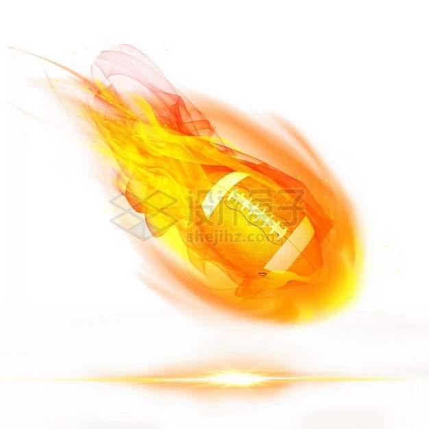 燃烧着火焰的橄榄球特效果158868png图片素材