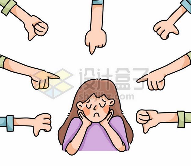 被人指责的卡通女孩png图片素材381726 人物素材-第1张