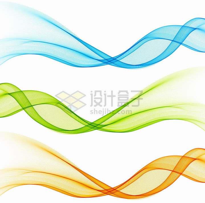 3款蓝色绿色深黄色波浪线装饰png图片免抠矢量素材