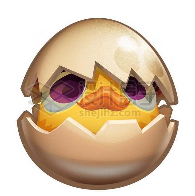 卡通出壳的小黄鸡小黄鸭png图片素材