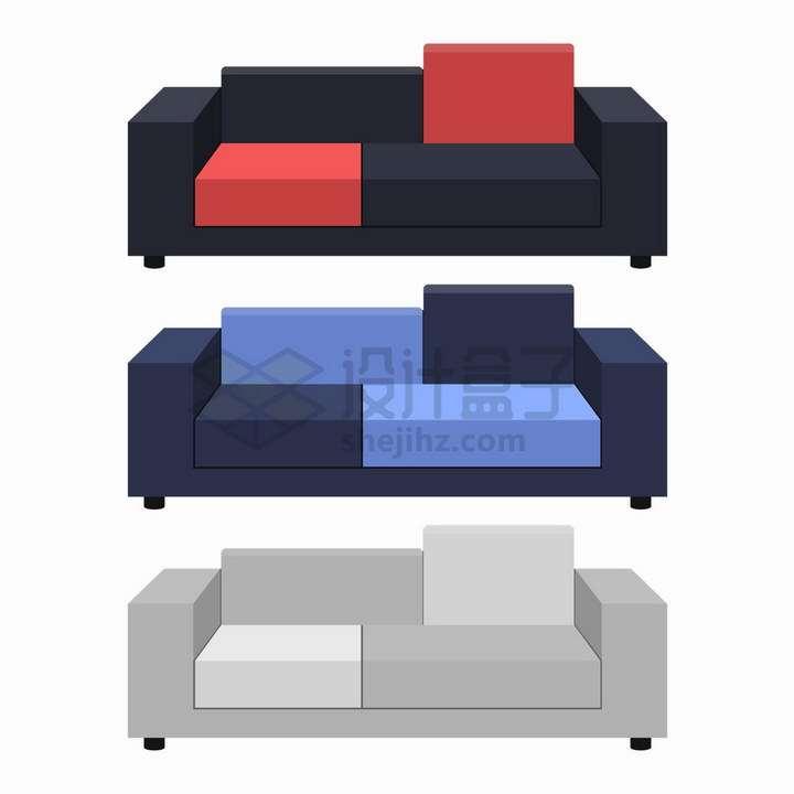 三种颜色的客厅组合沙发png图片免抠矢量素材