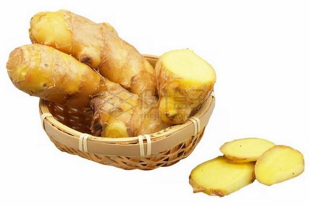 箩筐中的生姜和切片的生姜png免抠图片素材 生活素材-第1张