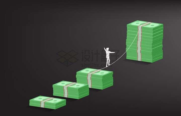 在美元钞票之间走钢丝的商务人士象征了投资经营的风险和挑战png图片免抠矢量素材