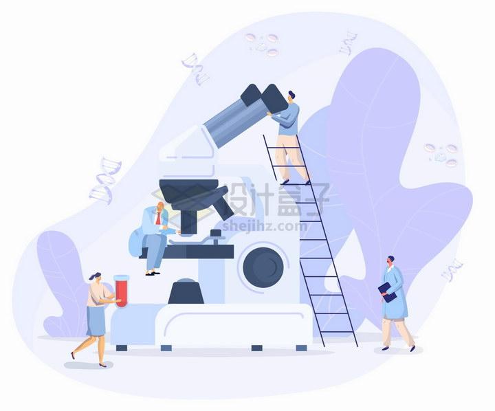 爬梯子看显微镜的科学家扁平插画png图片免抠矢量素材 科学地理-第1张