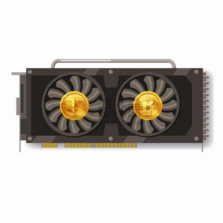 挖矿比特币专用显卡GPU png图片免抠eps矢量素材