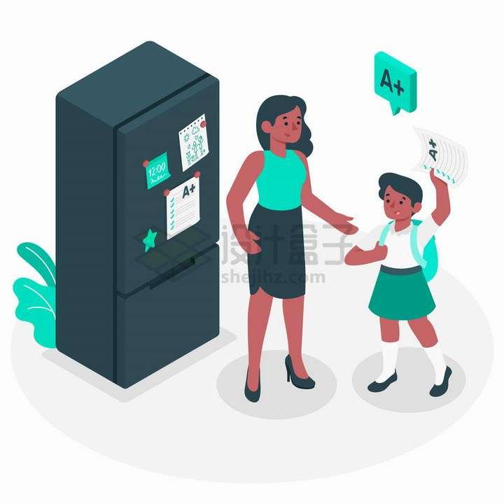 2.5D风格考试得了优秀的向妈妈炫耀的孩子png图片免抠矢量素材