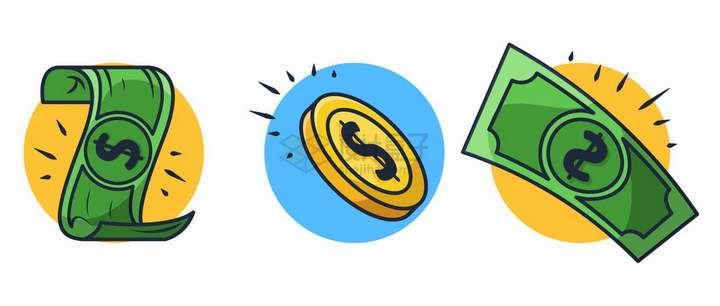卡通风格美元钞票金币png图片免抠矢量素材