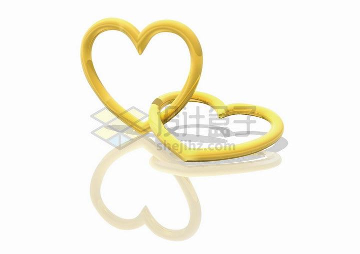 套在一起的心形黄金锁象征了爱情png图片免抠矢量素材
