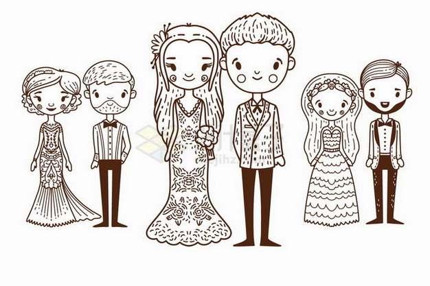 手绘风格结婚新郎新娘婚礼现场png图片免抠矢量素材