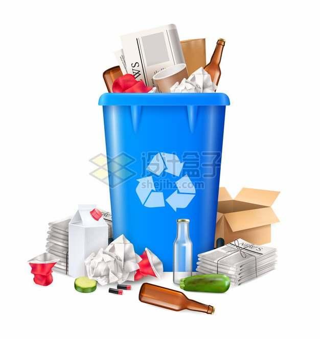 蓝色垃圾桶和乱丢的垃圾分类插画907895png图片素材