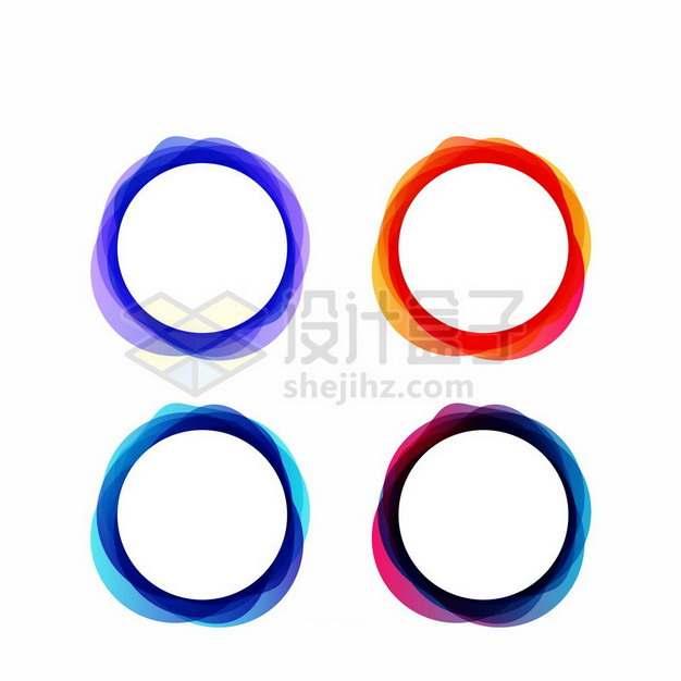 4款抽象彩色波浪线组成的圆形文本框标题框150231png图片素材