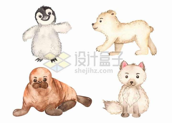 卡通企鹅北极熊海豹北极狐宝宝水彩画插图png图片免抠矢量素材