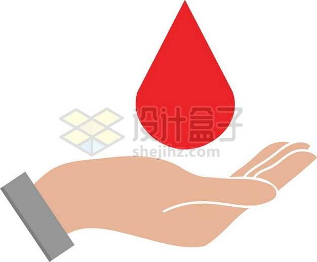一只手托着红色的液滴血液一滴血png图片素材