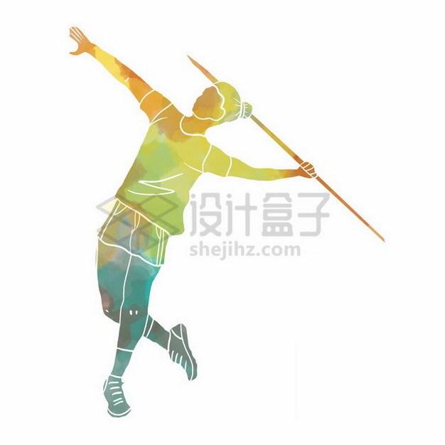 扔标枪的运动员彩色涂鸦png免抠图片素材 人物素材-第1张