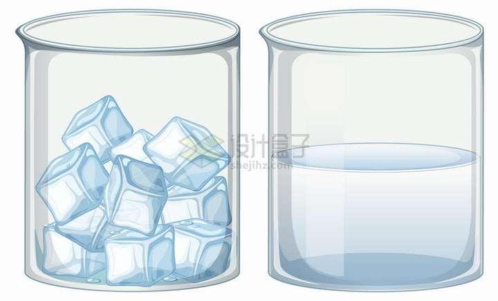 装满冰块和液态水的玻璃烧杯png图片免抠eps矢量素材