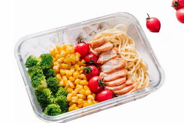 耐热钢化玻璃饭盒中的西兰花玉米粒圣女果鸡胸肉和面条png免抠图片素材 生活素材-第1张
